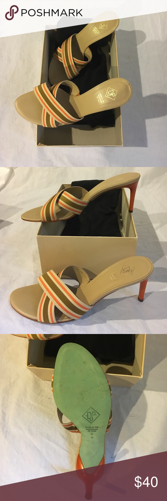 Donald J. Pliner pump Donald J. Pliner pump with striped, leather lined upper.  Tangerine, sand, and khaki racing stripe. Very little wear. Donald J. Pliner Shoes Heels