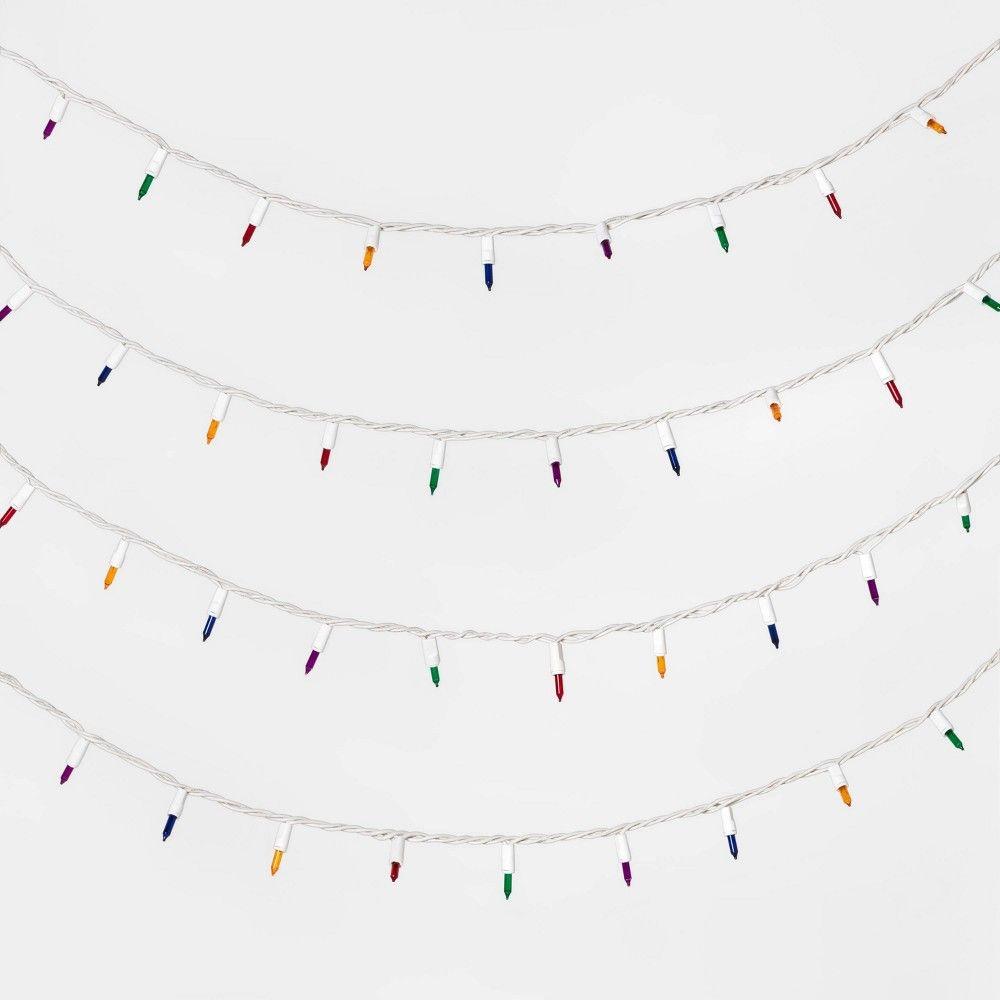 150 Multi Color Led Wide Angle Swag Christmas Lights 8 4 Ft White Wire 7644157 Christmas Light Installation Christmas Lights Holiday Lights