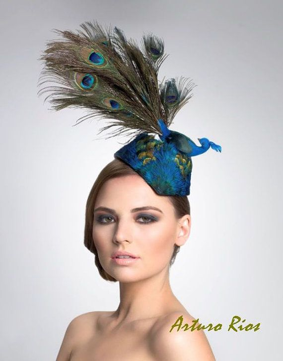 Peacock Fascinator, Cocktail hat, Kentucky Derby hat,  Fascinator, Melboune cup hats