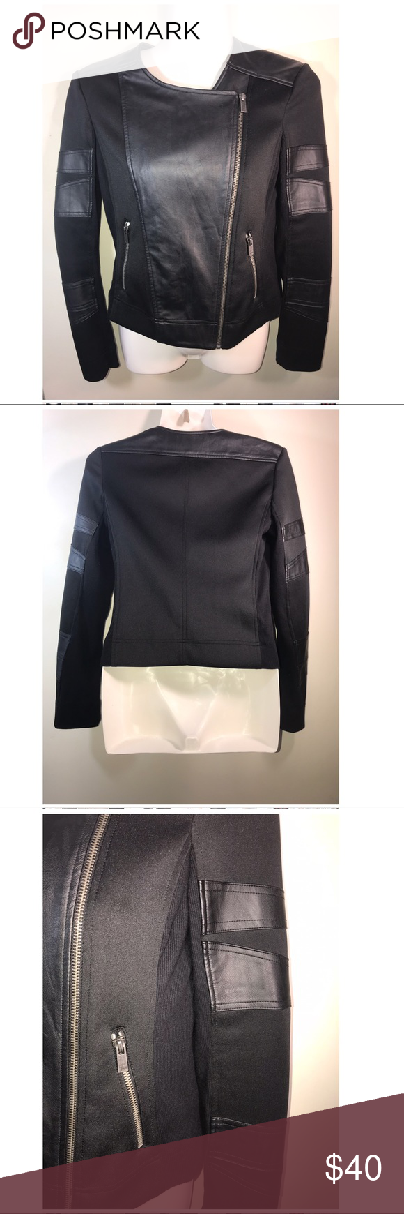 Two By Vince Camuto Black Faux Leather Jacket Xs Black Faux Leather Jacket Faux Leather Jackets Leather Jacket [ 1740 x 580 Pixel ]