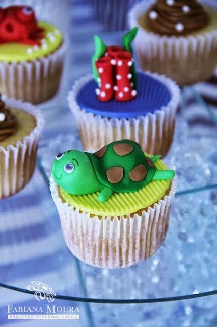 cupcake  Encontrando Ideias: Festa Fundo do Mar!!!