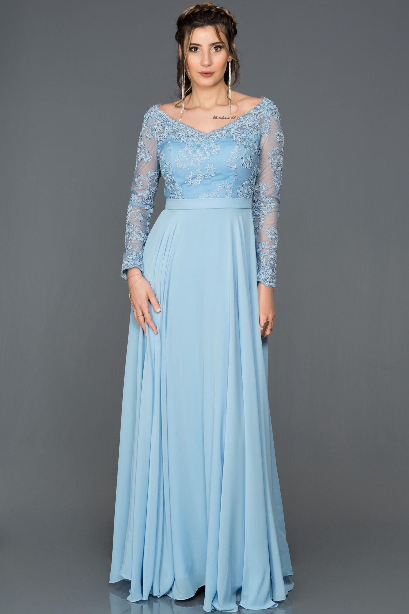 Mavi Uzun Kollu Tullu Abiye Abu212 Mavi Uzun Elbiseler Uzun Kollu Elbiseler