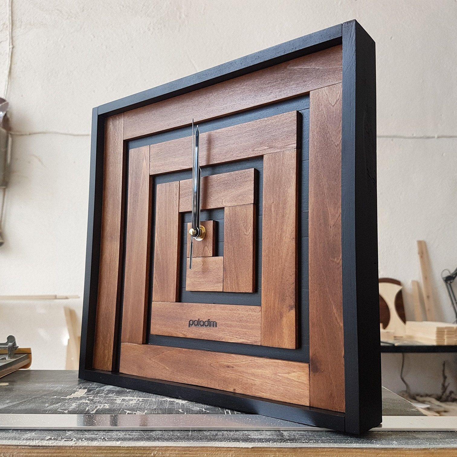 Wall clock minimalist clock square clock maze decor labyrinth