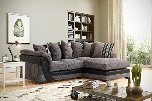 Illusion Corner Cord Chenille And Faux Leather Sofa In Black Grey
