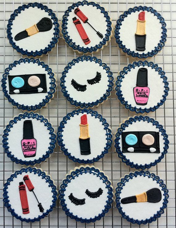 Decorated Makeup Party Cookies Orted Cosmetics Nail Polish Mascara Lipstick
