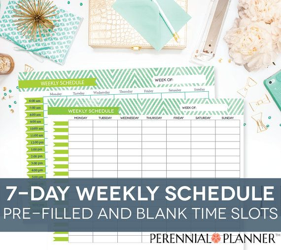 Weekly Schedule Printable  Days Customizable Daily Times Hourly