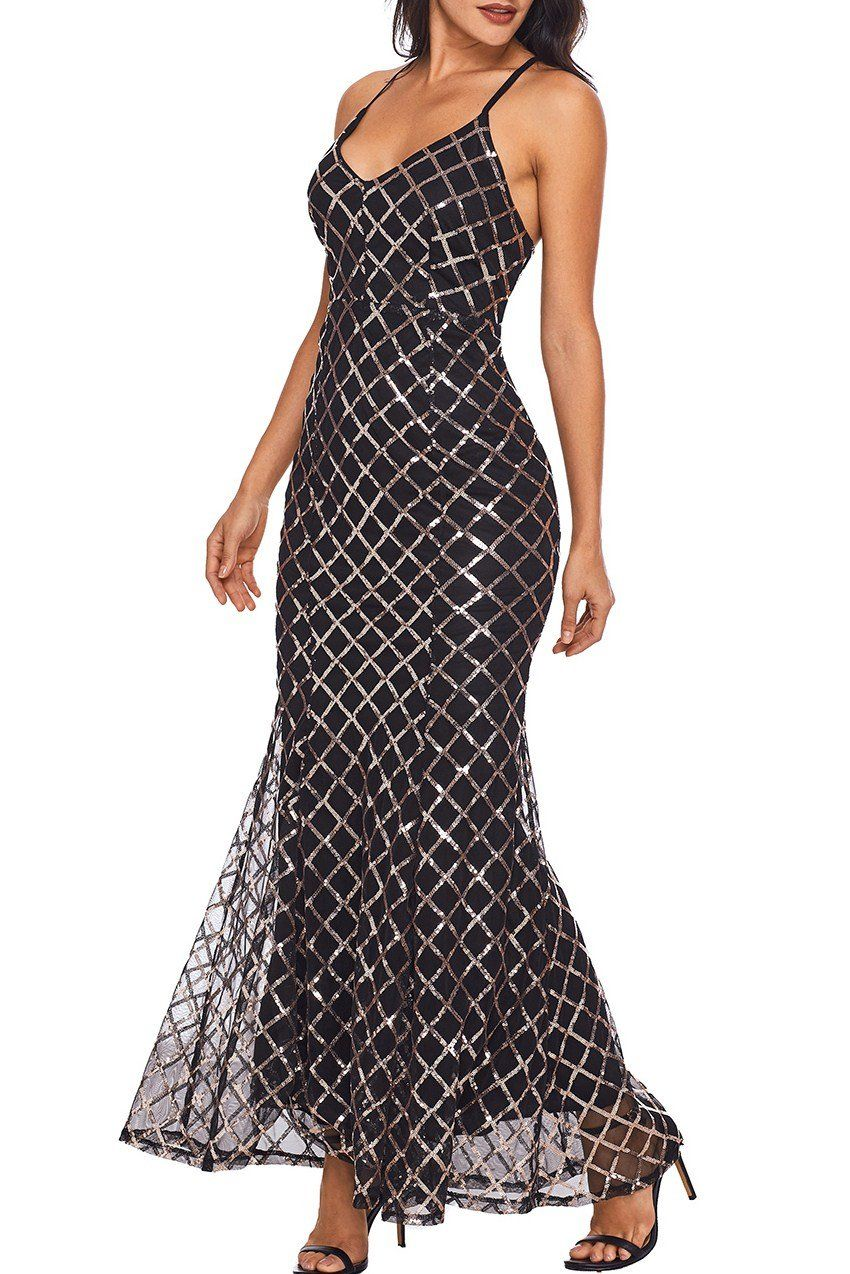 Black Gold Sequins Crisscross Long Evening Dress | Pinterest | Black ...