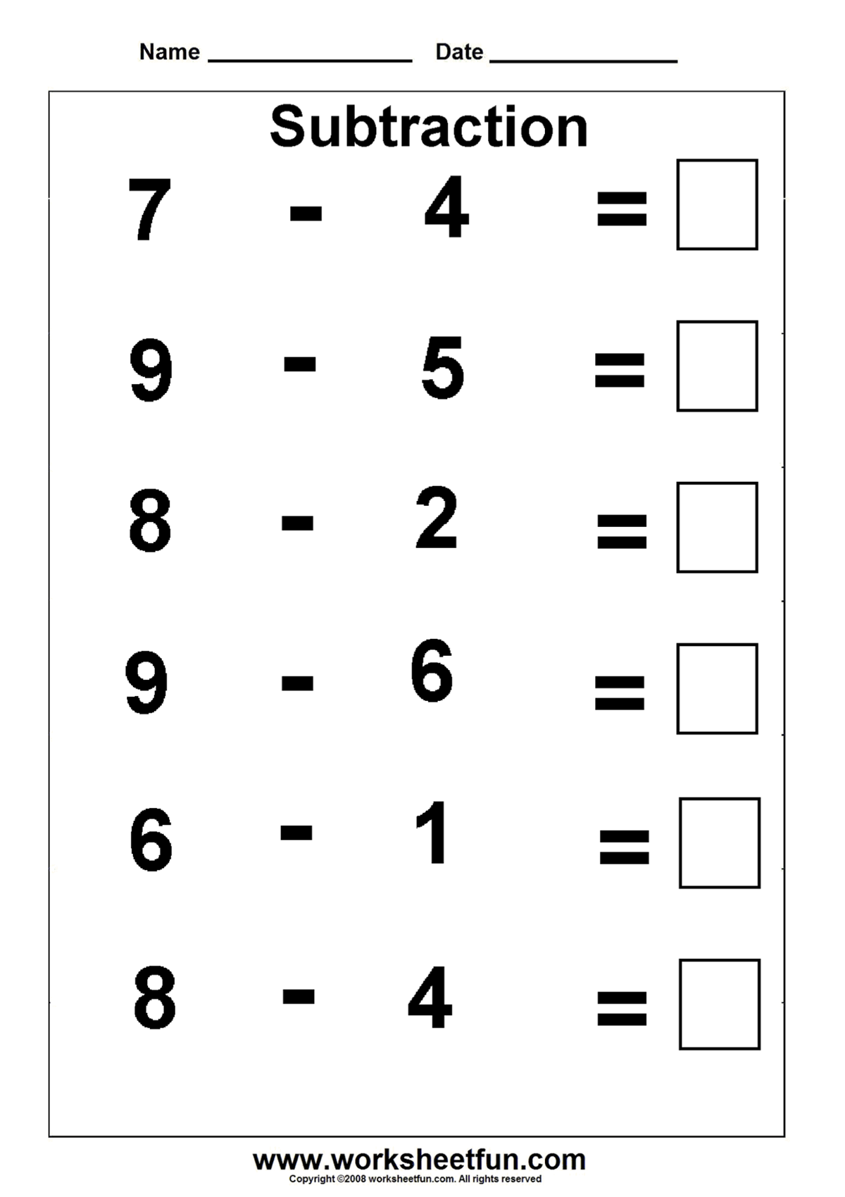 Subtraction worksheet   Kindergarten math worksheets free [ 1699 x 1200 Pixel ]