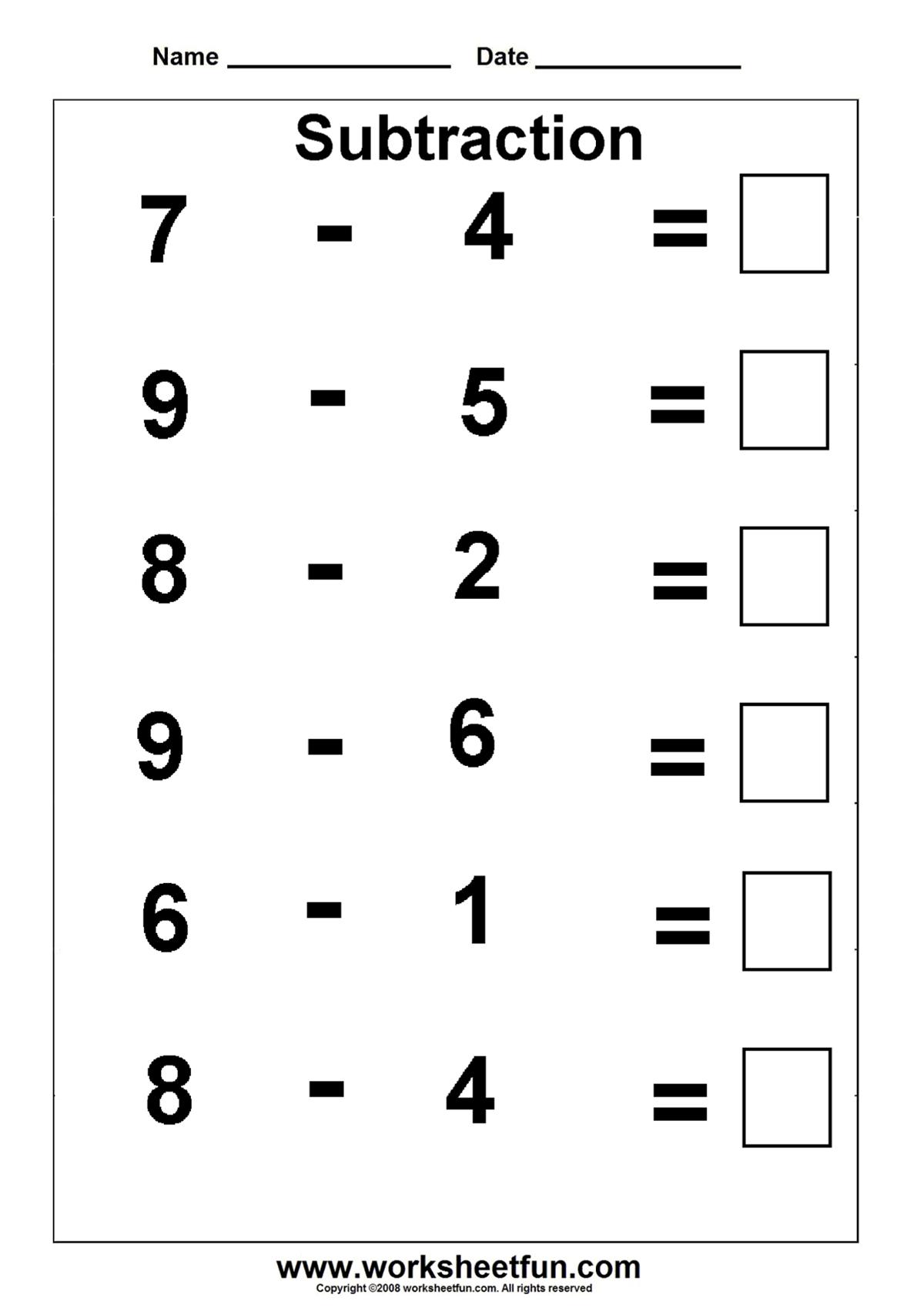 medium resolution of Subtraction worksheet   Kindergarten math worksheets free