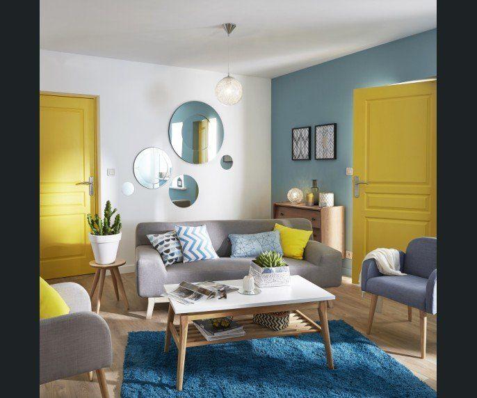 Salon / Sejour Bleu Jaune / Orange | Deco | Pinterest | Decor, Home ...