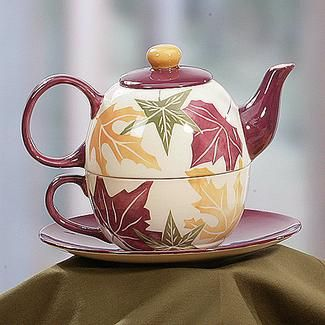 teapot on a rack | Leaf Tea Ceramic Teapot, Tea Cup and Saucer, 3 Piece Set