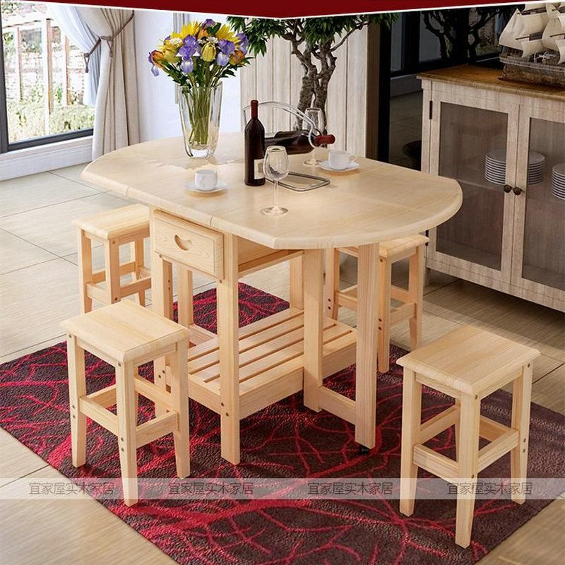 Solid Pine Wood Semi Circle Fold Able Coffee Dining Table With Four Chairs No Drawers Simple Fashion Multi Pur Pine Wood Furniture Dining Stools Dining Table