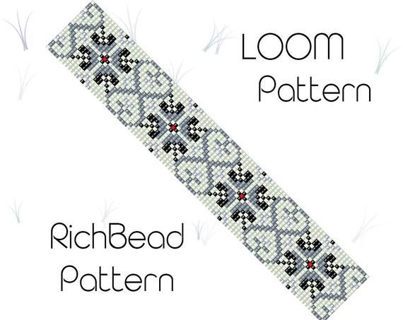 Bead loom patterns Beaded bracelet pattern Weaving pattern