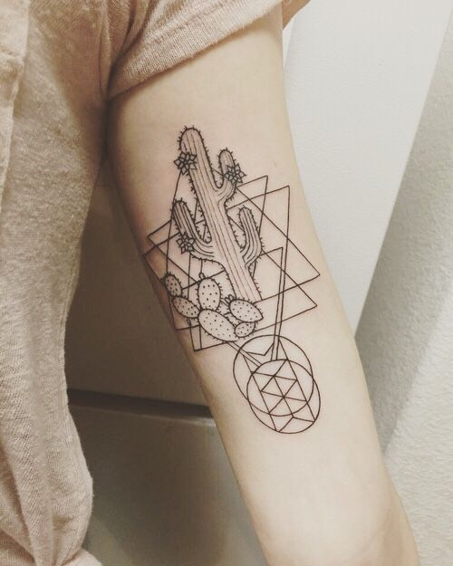 4a01eb5614087 Geometric Cactus Tattoo... - Tattoo Ideas | body jewelry and tattoos ...