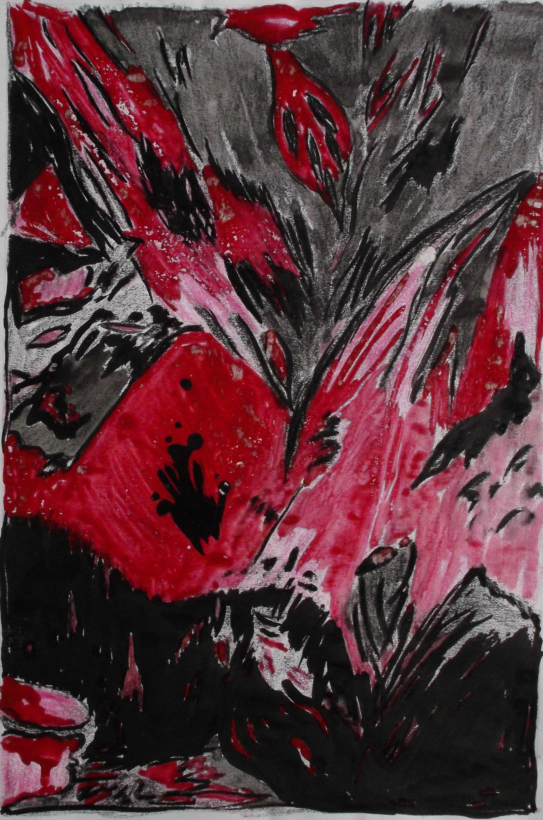 Painting Art Poppyseed Flowers Stillife Kunst Mohnblumen Munchen Mohnblume