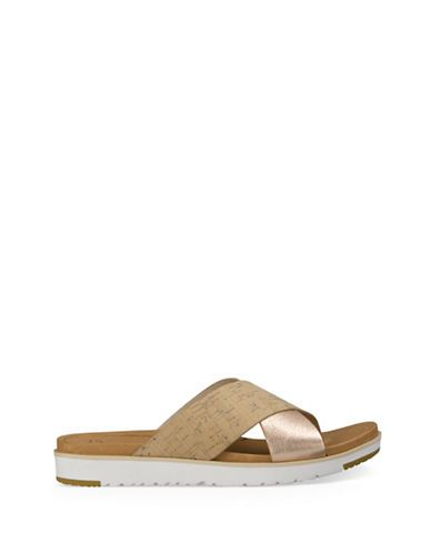 63daeed6333 Ugg Kari Leather Slide Sandals Women's Natural 9   Products   Uggs ...