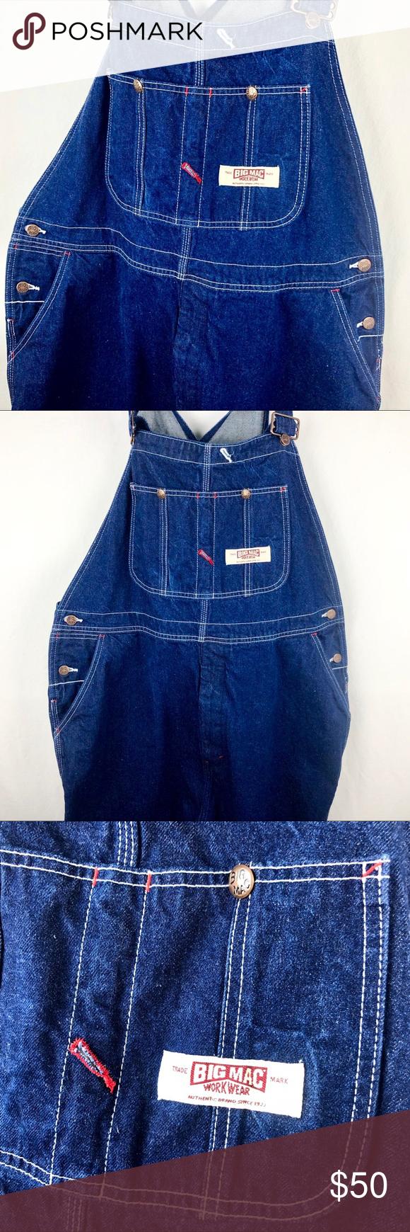 vtg big mac overalls denim jeans mens 44x34 work denim on cheap insulated coveralls for men id=11154