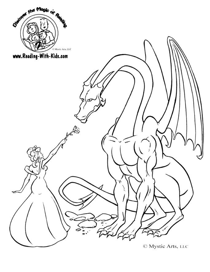 Princess & Dragon colouring page - maybe use picture for ...