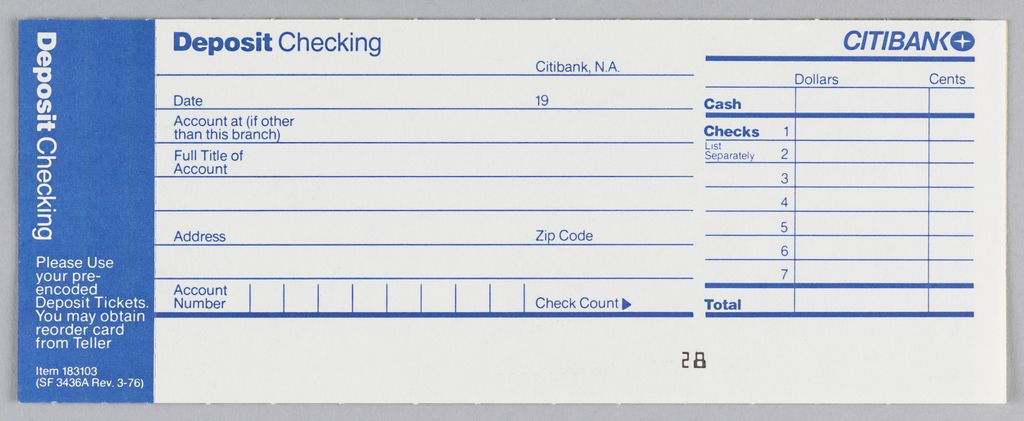 Citibank Deposit Form In Three Vertical Registers With Blue Ink On