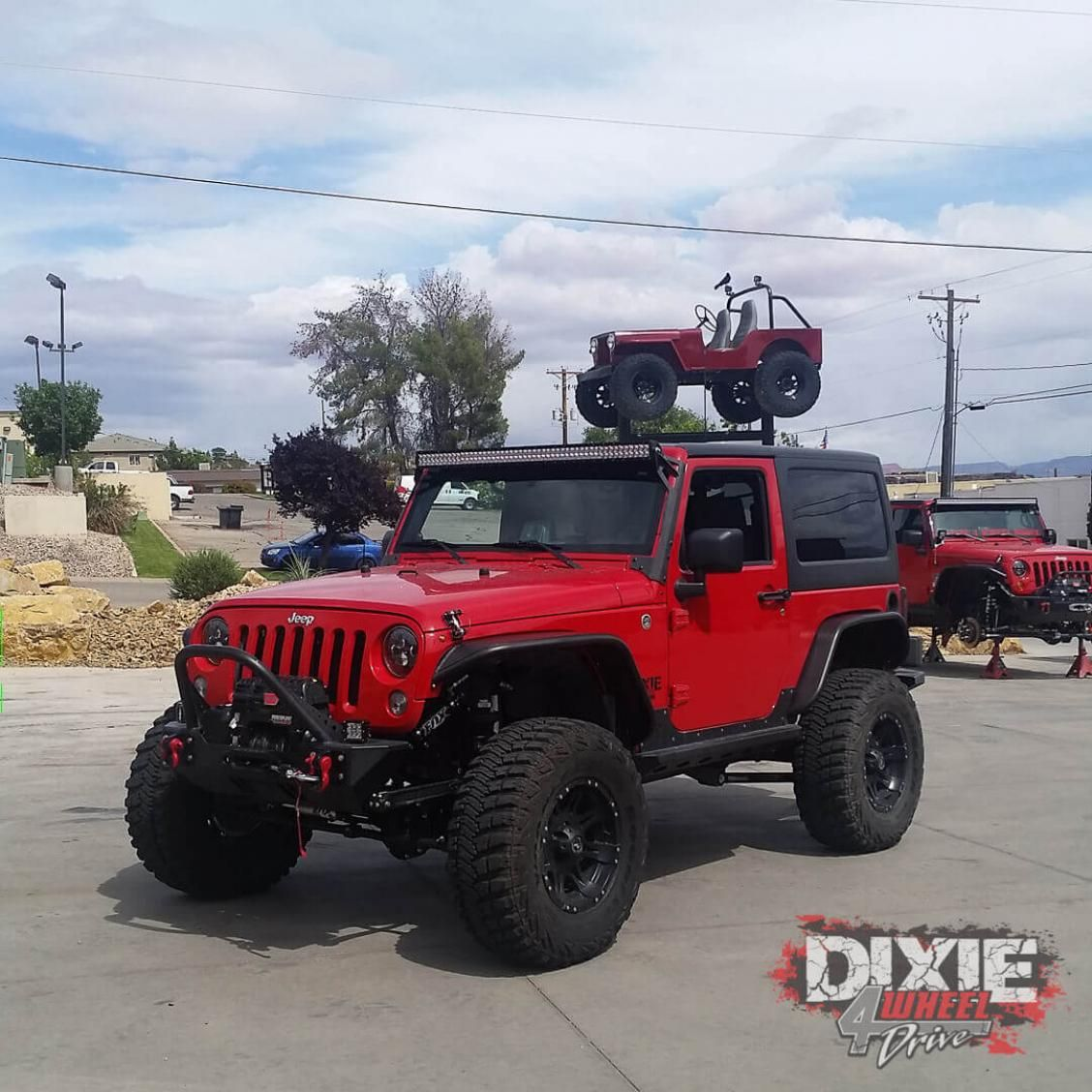 2007 Jeep Jk Sport Prerunner Dixie 4 Wheel Drive Jeep Jk Jeep Wrangler Lifted Red Jeep Wrangler