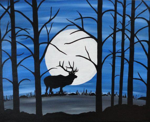 Abstract Wildlife Painting Deer Painting Elk Painting