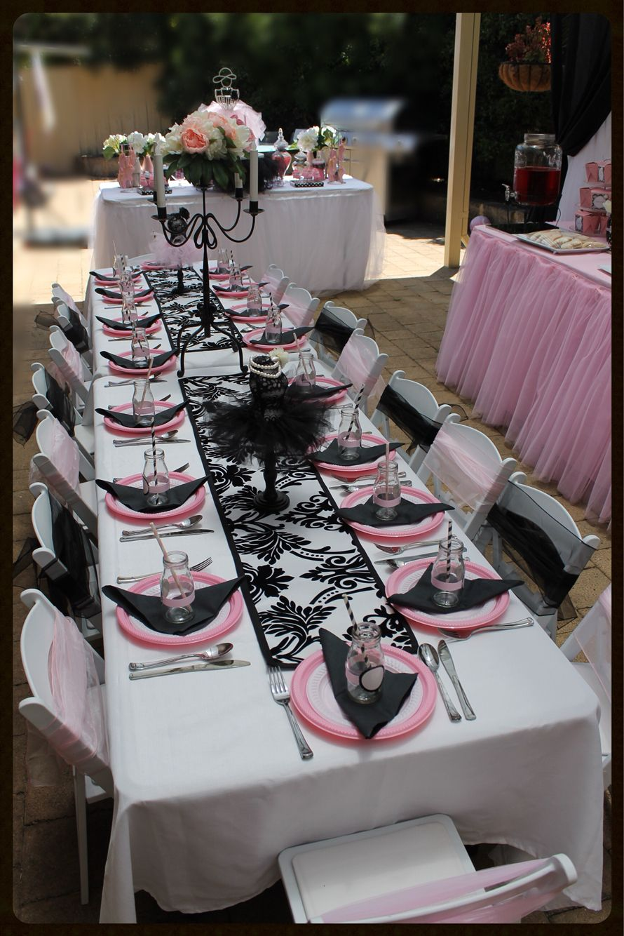 Black Pink And White Ballerina Party Decorations Ali S Kids Party In A Box Ballerina Party Ballerina Party Decorations Ballet Party