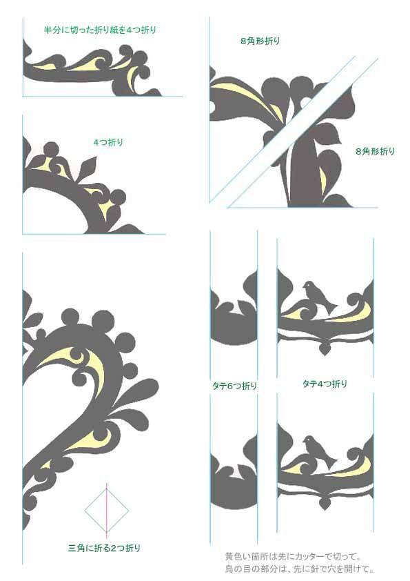 スクラップブッキングフレーム手作り作り方折り紙切り紙型紙