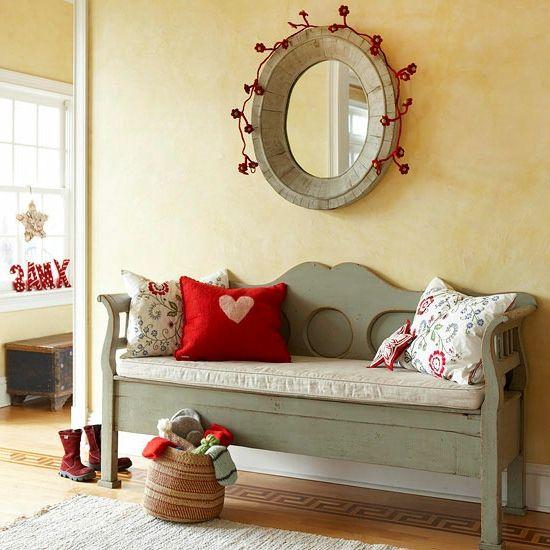 Weihnachten Dekoration Klein Innenraum Kleine Deko Details Flur Rot