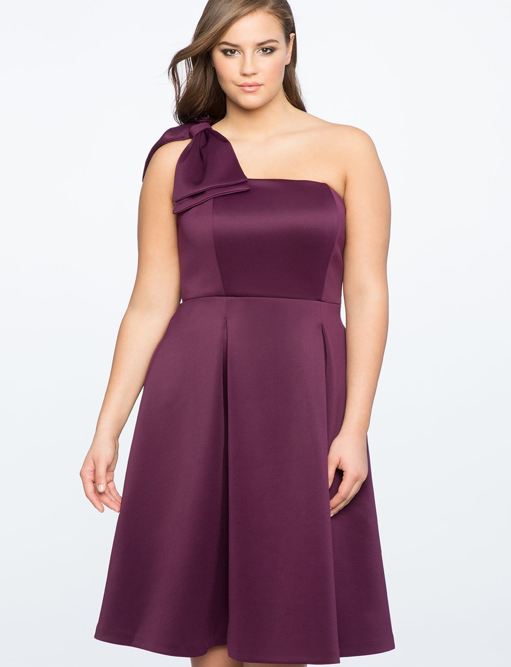 One Shoulder Fit & Flare Dress with Bow Detail