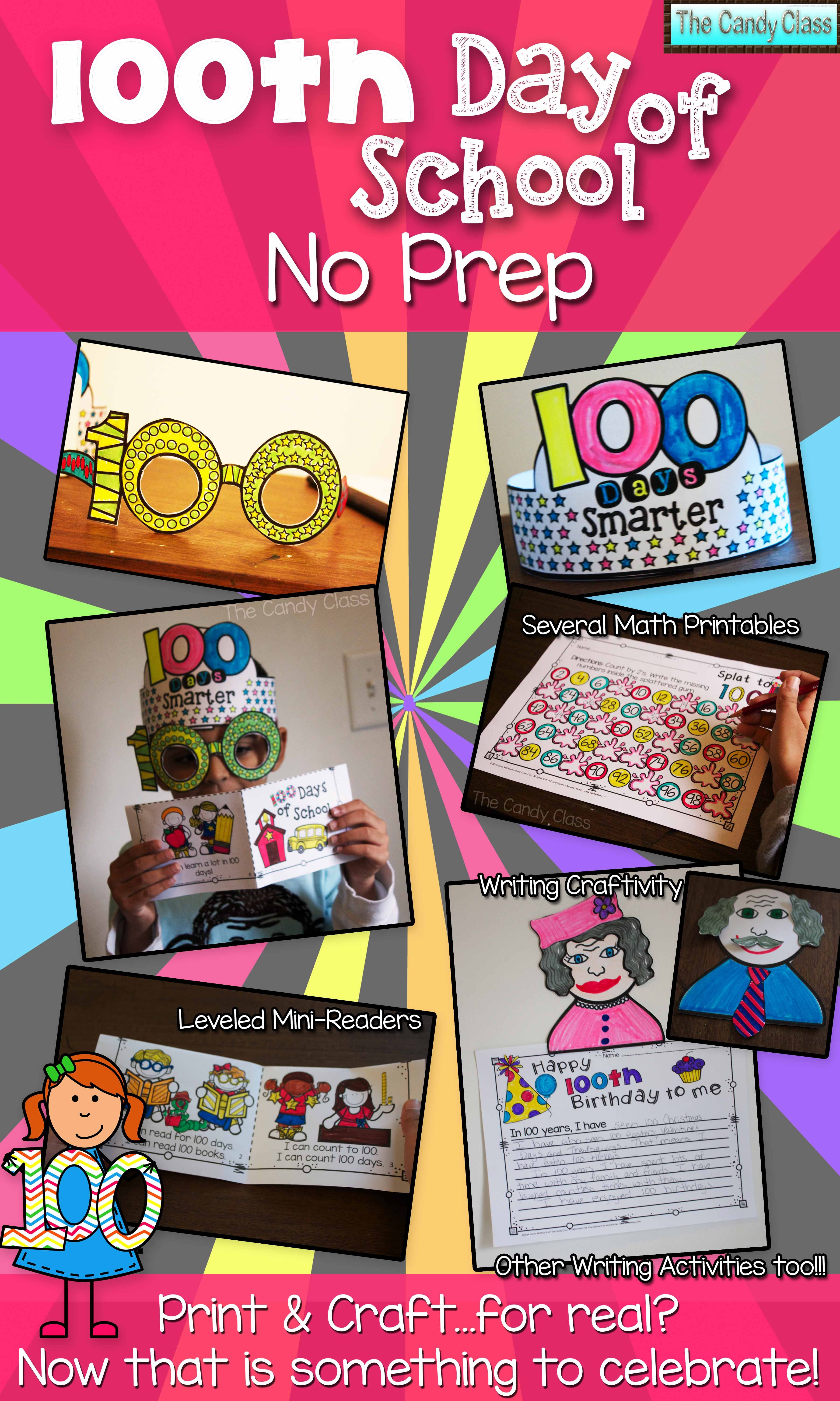 100th Day Of School Activities No Prep Crafts Math