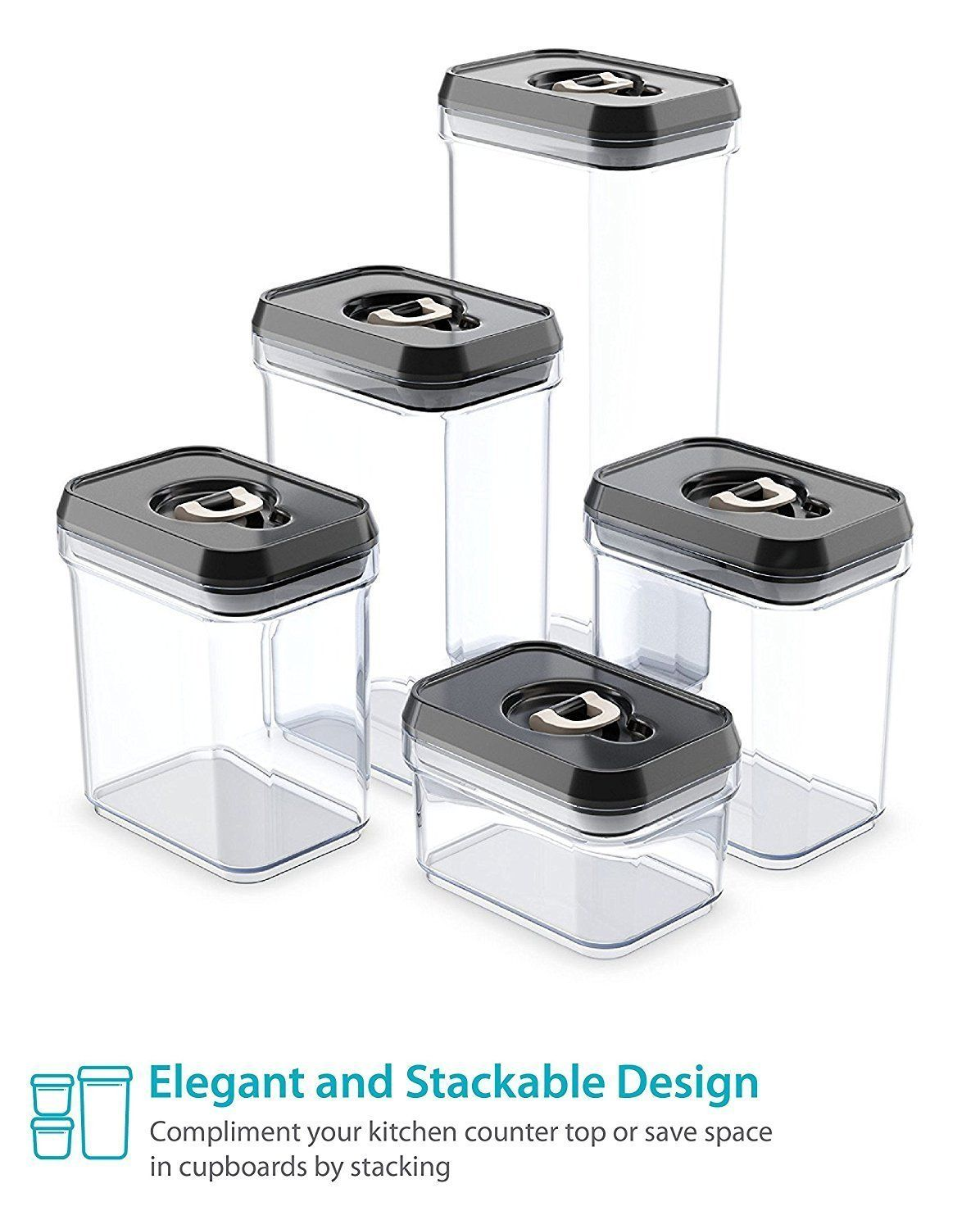 Royal Airtight Food Storage Container Set 5piece Set Durable Plastic Bpa Free Clear Plastic With Black Lids You Can Get Ad Airtight Food Storage
