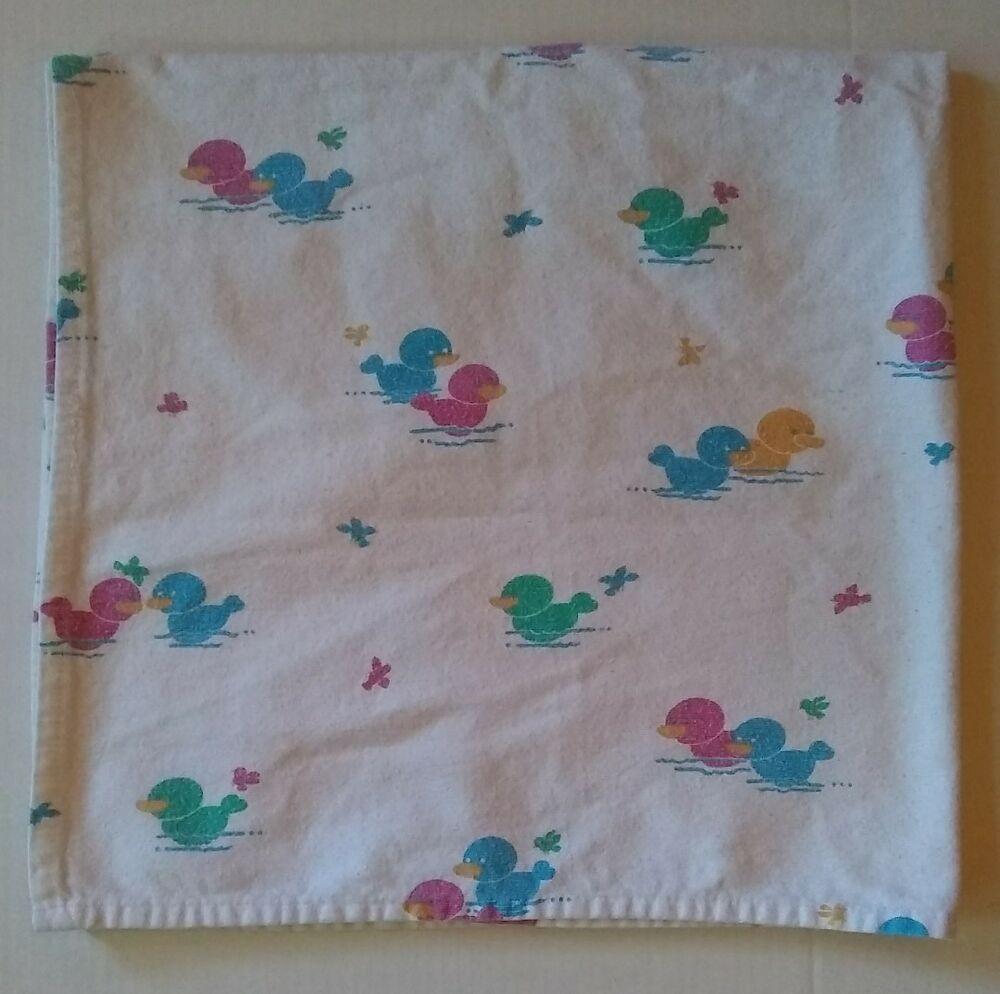 Baby Duck Cotton Receiving Blanket Vtg Flannel Pink Blue Green