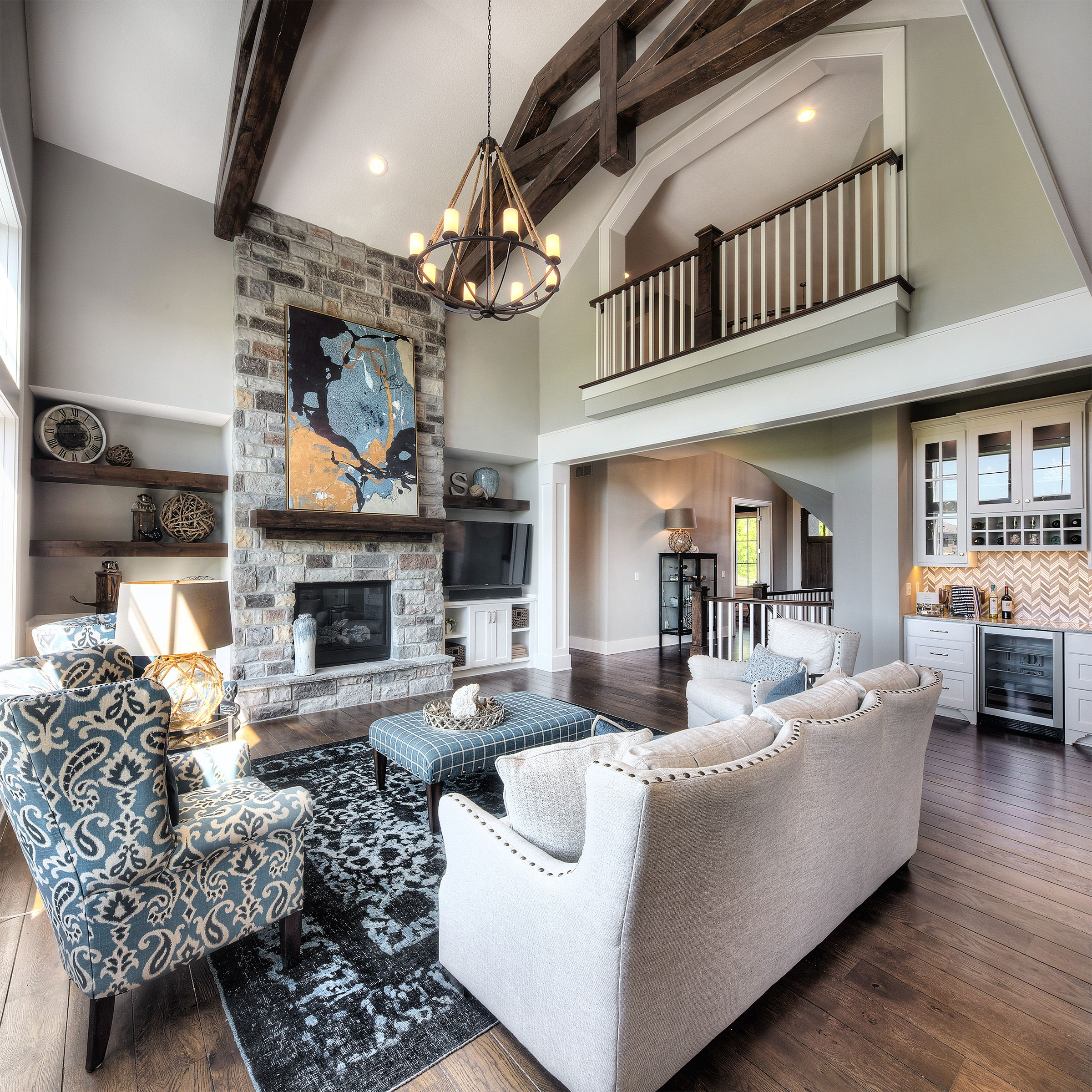 living room stone fireplace chandelier two story great on extraordinary living room ideas with lighting id=65632