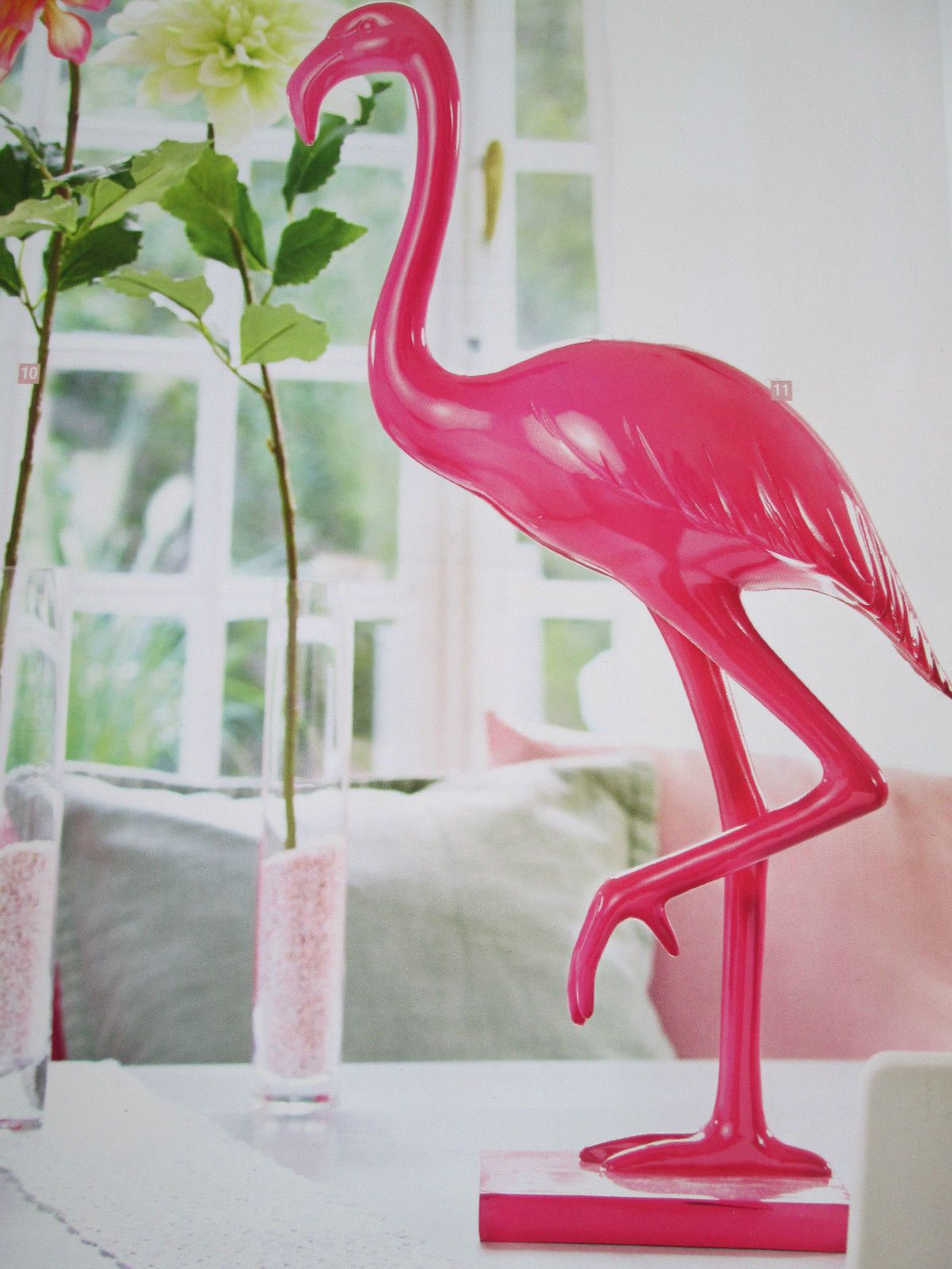flamingo deko figur pink polyresin 61 cm in m bel wohnen dekoration dekofiguren ebay. Black Bedroom Furniture Sets. Home Design Ideas
