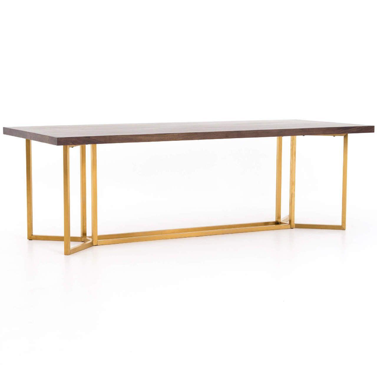 Bryant Polished Brass Leg Walnut Wood Dining Table 95 Wood