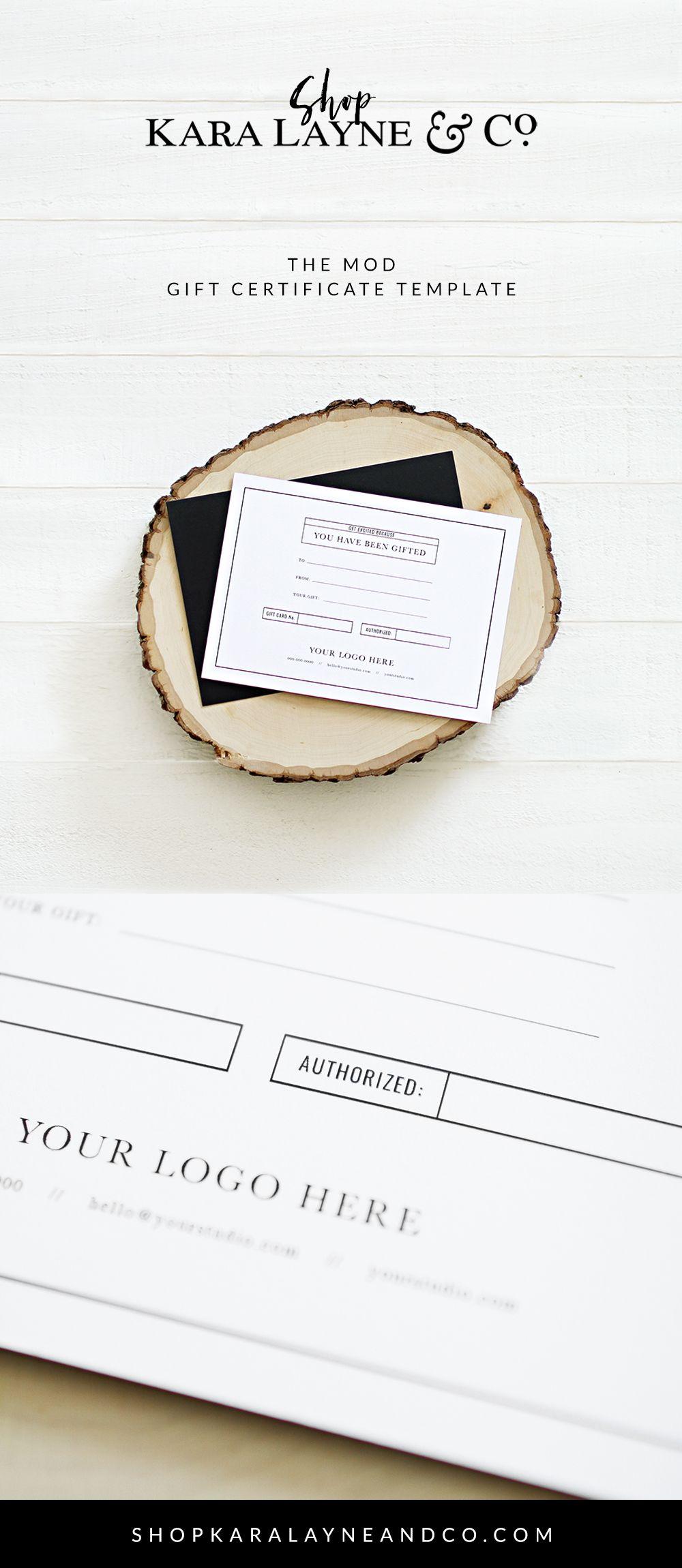 Mod Gift Certificate Template Blog Insp Pinterest Gift