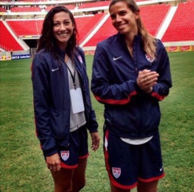 Photo of Christen Press  & her friend Tobin Heath