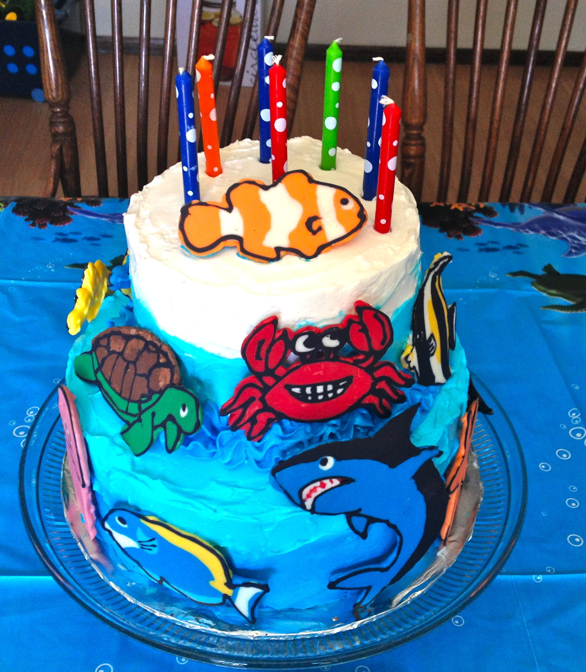 Ocean Birthday Cake Animals Are Made From Candy Melts Frosting Is