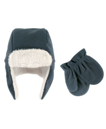 Luvable Friends Baby Boys Fleece Bear Hat and Mitten Set
