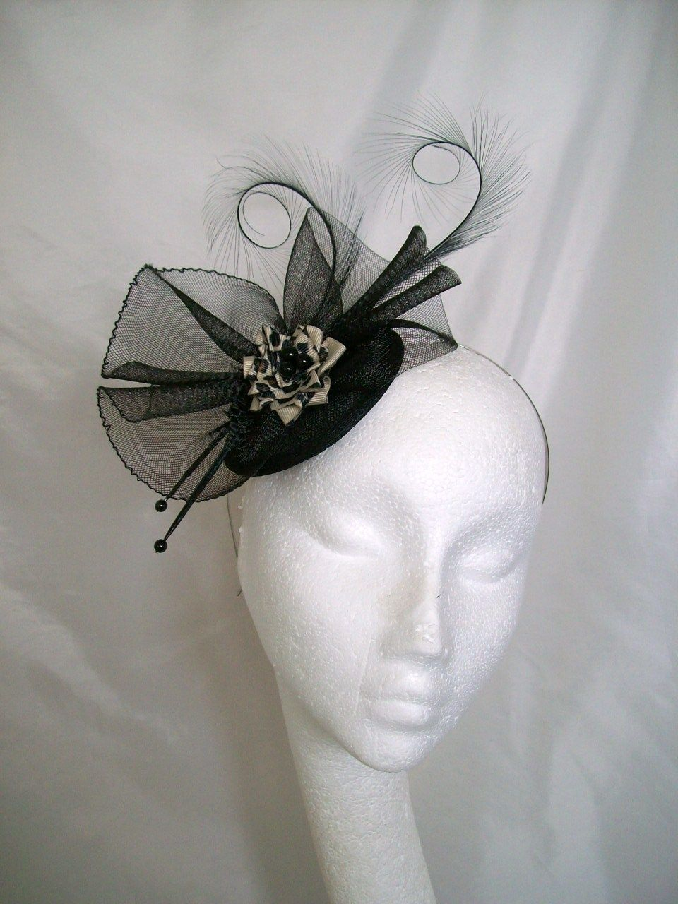 88484eb3a57a2 Black Matilda with Leopardprint Detail Fascinator Hat by Gothic Diva  Designs  Gothic  Steampunk Fabulous