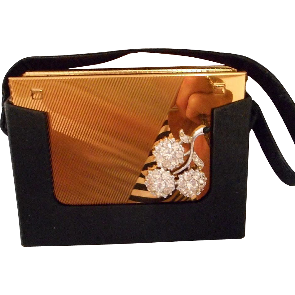 "Fantastic Vintage ""Volupte"" Compact and Purse with Satin Case"