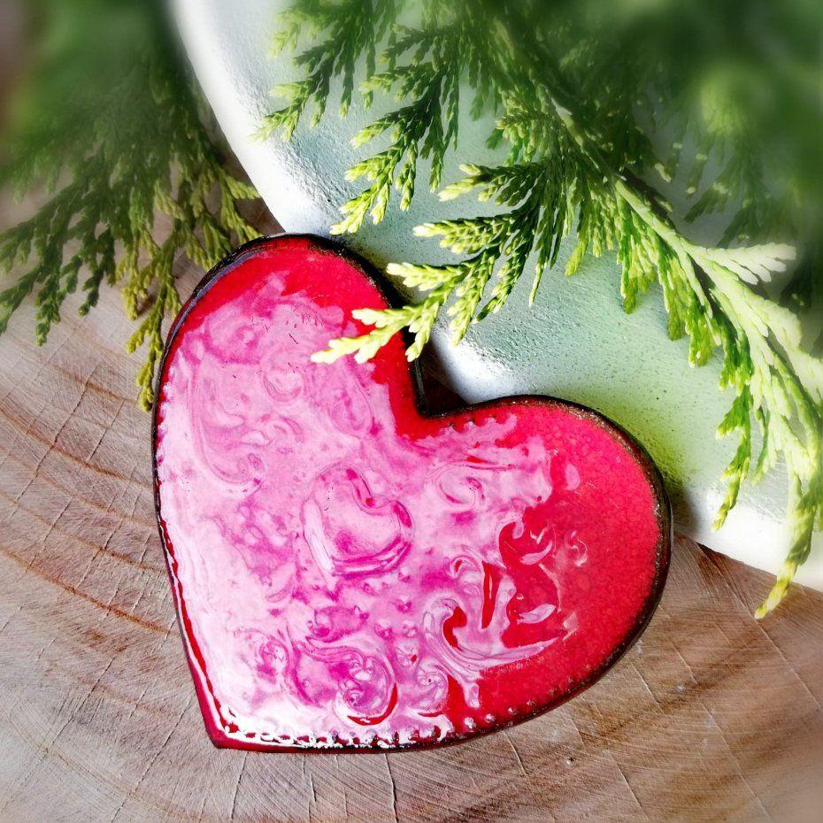 Soczyscie Czerwone Serce Ceramiczne 65 Mm Magnes Serce Na Lodowke