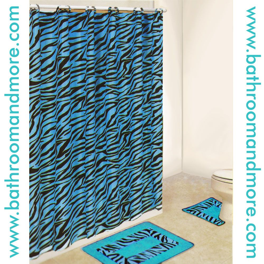 zebra print aqua blue fabric shower curtain and bathmat set