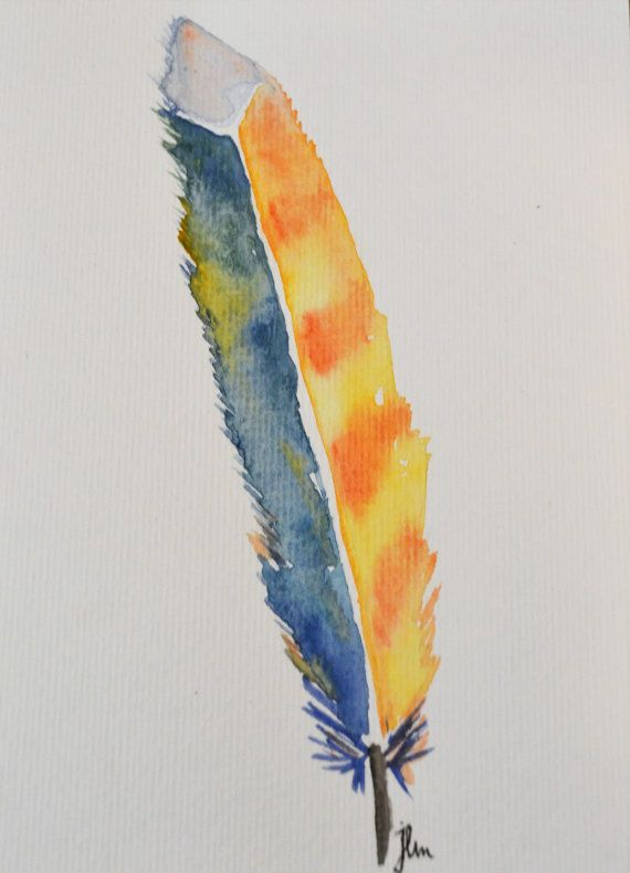 Feather Watercolor Painting 5x7/8x10 by jlmmomentsanddesigns