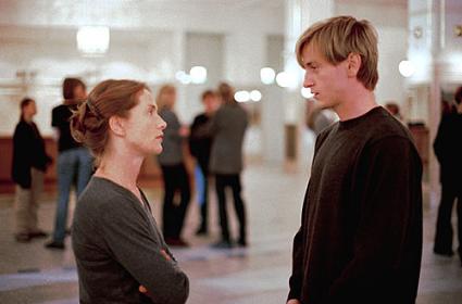 Avec Benoît Magimel dans La Pianiste, un film de Michael Haneke (2001).