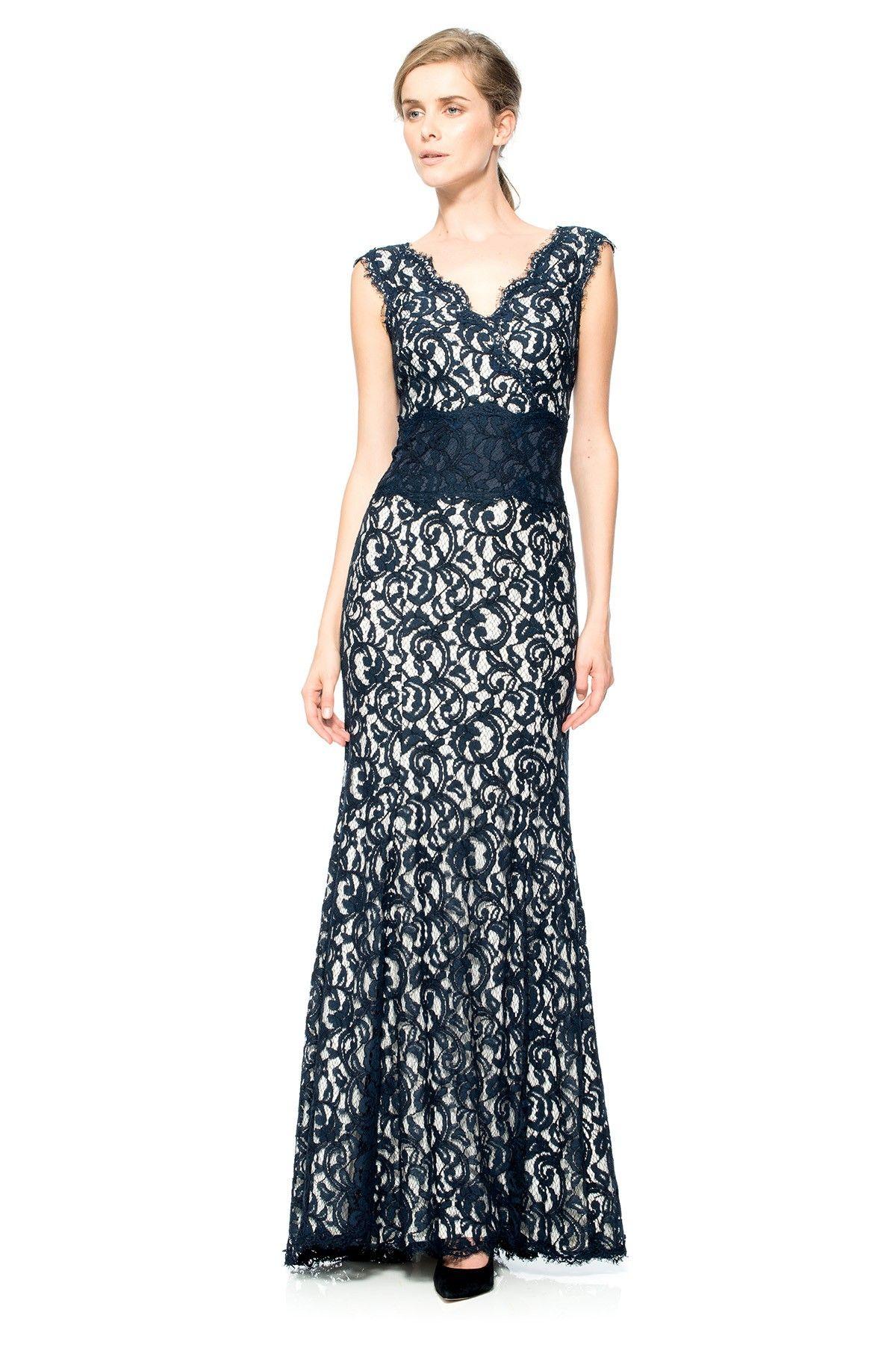 Contrast Lace Waist Gown   Tadashi Shoji   Suze   Pinterest ...
