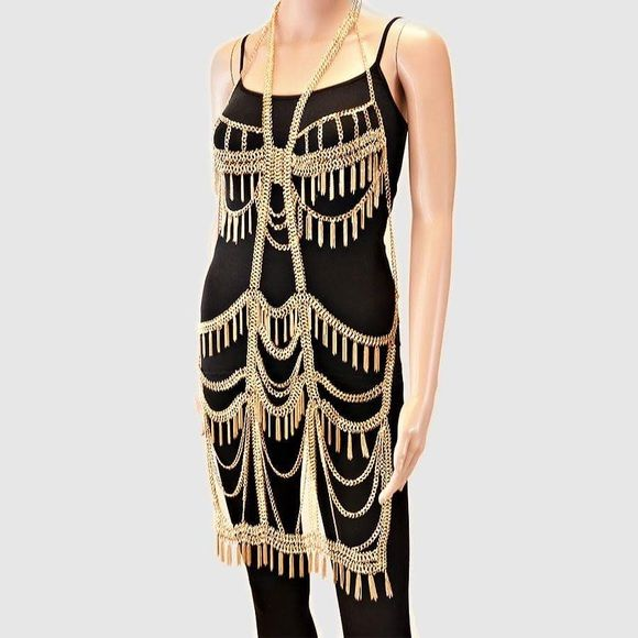 MULTIPLE TIERS OF DRAPED TASSEL FRINGE BODY CHAIN . Jewelry Necklaces