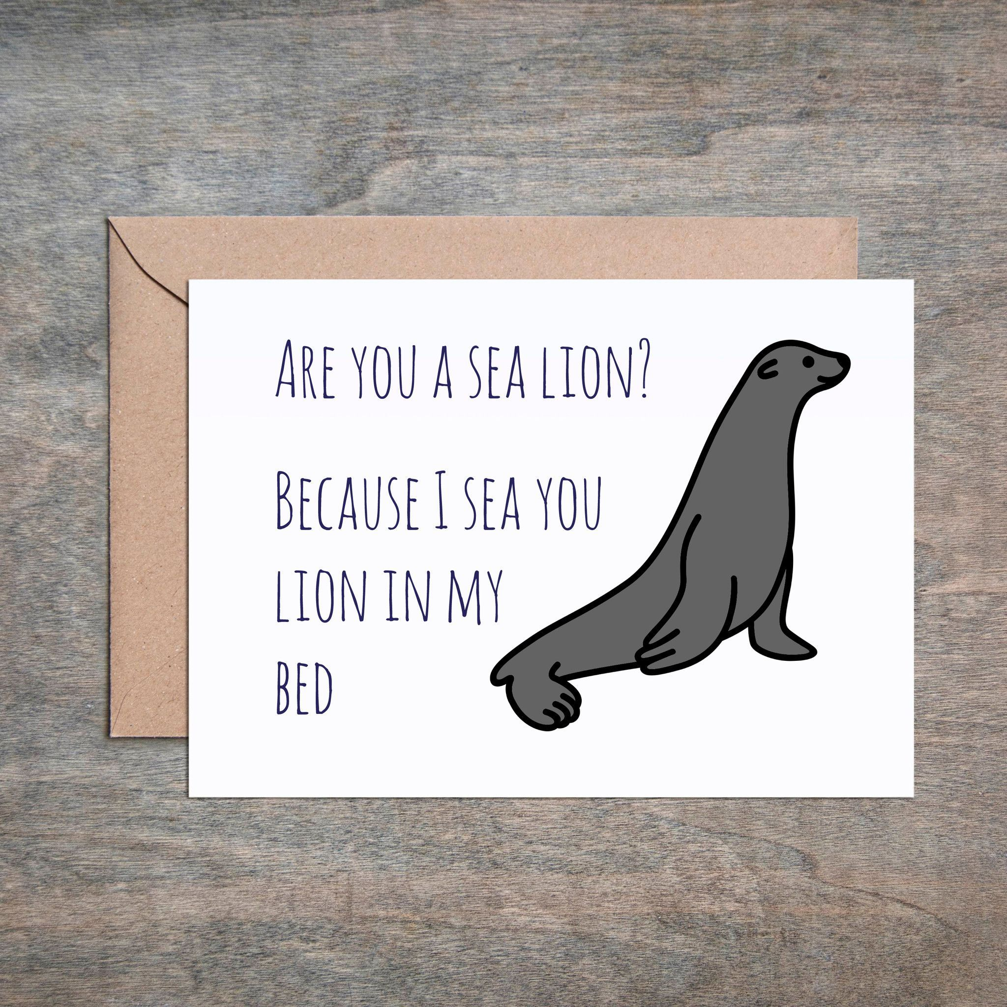 Are You A Sea Lion Card. Funny Anniversary Card