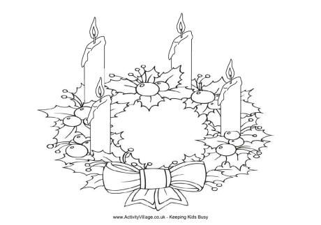 Advent Wreath Colouring Page Natale Religione Disegni