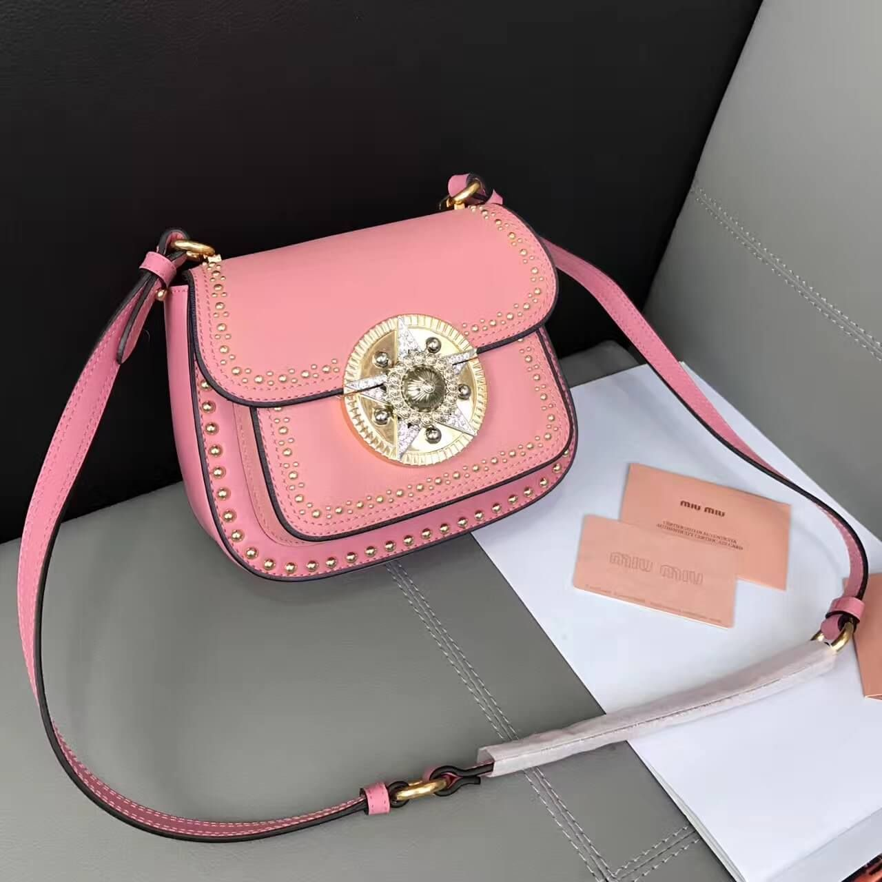 Miu Studs Calfskin Star Lock Shoulder Bag 5bd030 Pink 2017